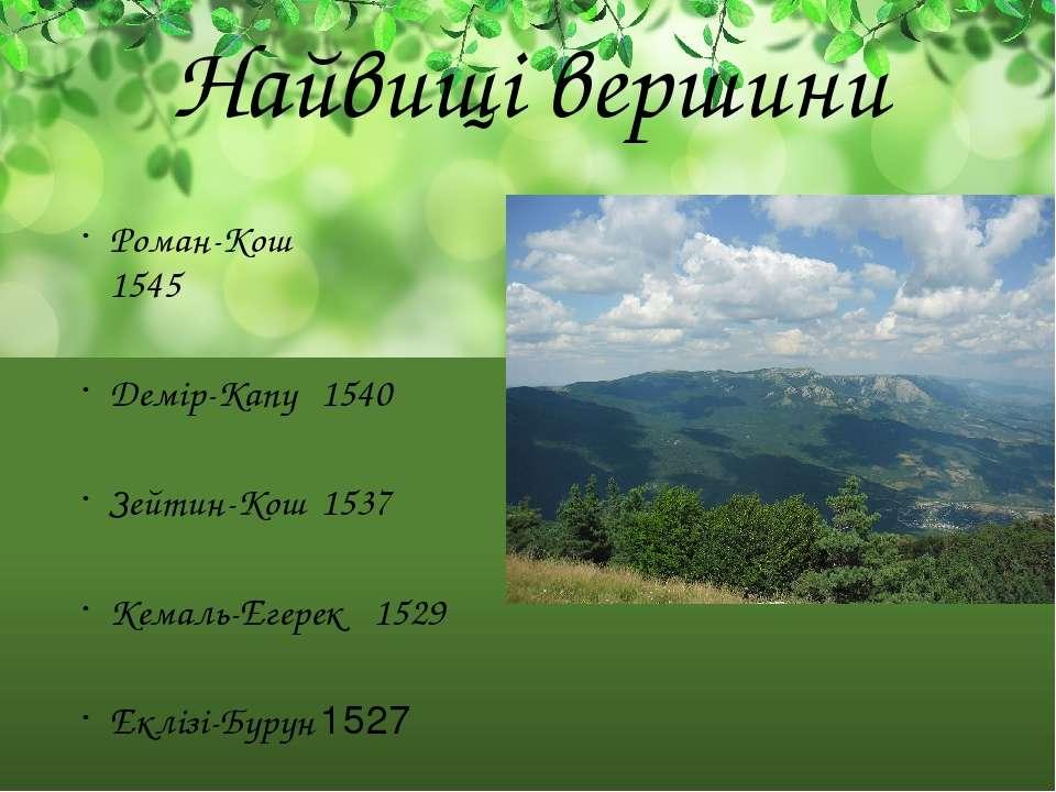 Найвищі вершини Роман-Кош 1545 Демір-Капу 1540 Зейтин-Кош 1537 Кемаль-Егерек ...