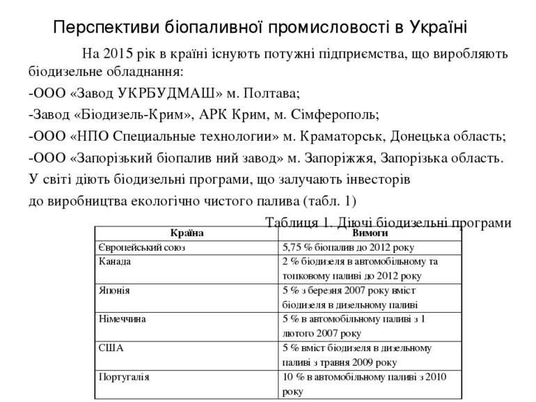 Перспективи біопаливної промисловості в Україні На 2015 рік в країні існують ...
