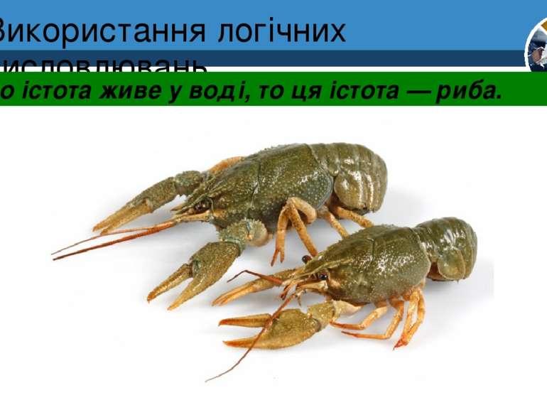 Використання логічних висловлювань Якщо істота живе у воді, то ця істота — ри...