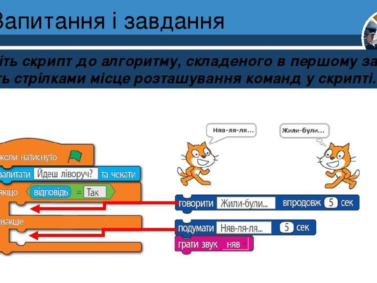 Запитання і завдання Зберіть скрипт до алгоритму, складеного в першому завдан...
