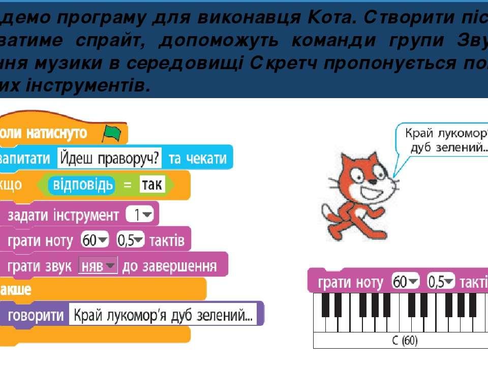 Розділ 4 § 25 Складемо програму для виконавця Кота. Створити пісню, яку викон...