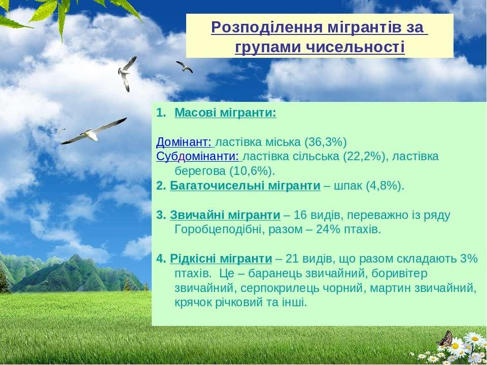 Масові мігранти: Домінант: ластівка міська (36,3%) Субдомінанти: ластівка сіл...