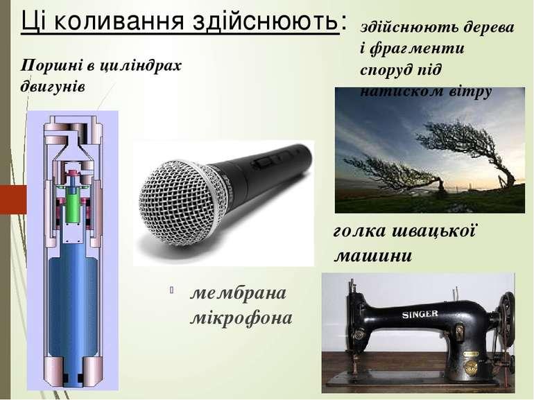 мембрана мікрофона Поршні в циліндрах двигунів голка швацької машини здійснюю...