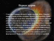 Первая теория Существует порядка 18 гипотез происхождения Луны. Одной из перв...
