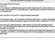 Таблиця. Перелік ключових компетентностей Загальні означення ключовихкомпетен...