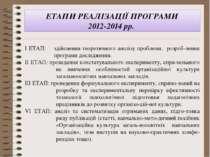 ЕТАПИ РЕАЛІЗАЦІЇ ПРОГРАМИ 2012-2014 рр. І ЕТАП: здійснення теоретичного аналі...