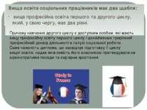 Вища освіта соціальних працівників має два щабля: вища професійна освіта перш...