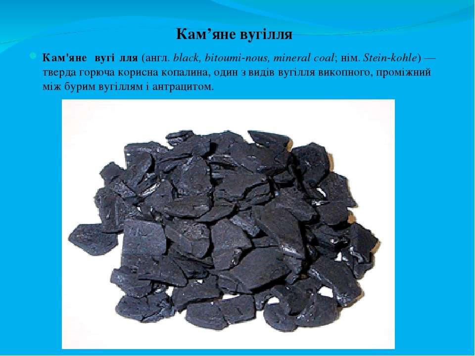 Кам'яне вугілля Кам'яне вугі лля (англ. black, bitoumi-nous, mineral coal; ні...