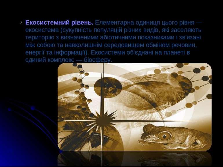 * Екосистемний рівень. Елементарна одиниця цього рівня — екосистема (сукупніс...