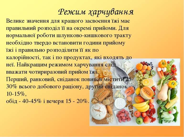 Режим харчування Велике значення для кращого засвоєння їжі має правильний роз...
