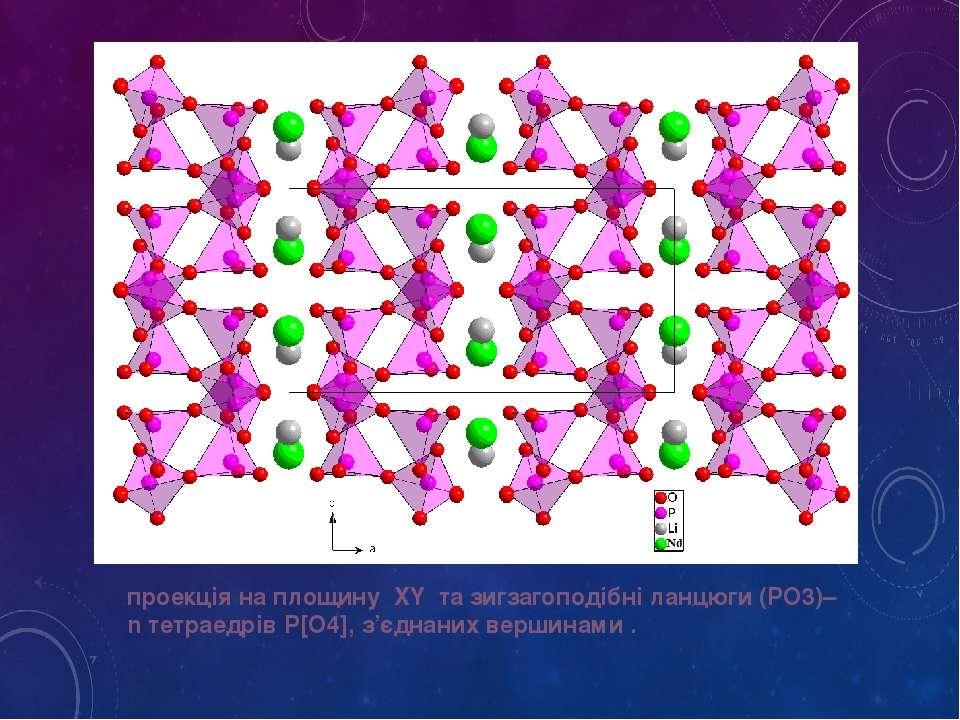 проекція на площину XY та зигзагоподібні ланцюги (PO3)–n тетраедрів P[O4], з'...