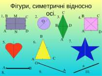 Фігури, симетричні відносно осі. 1. А В С D O A B C D A B C D A B C A B O A a...