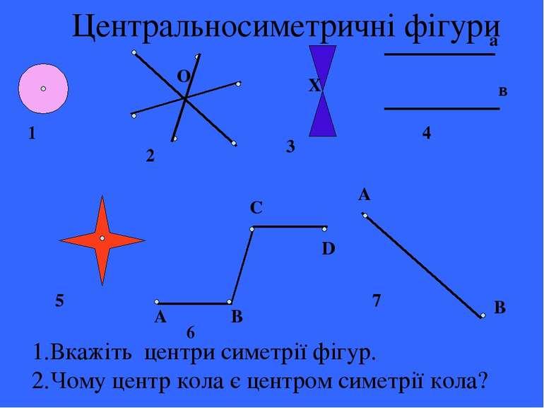 Центральносиметричні фігури а в А В С D А В О Х 1 4 2 3 5 6 7 1.Вкажіть центр...