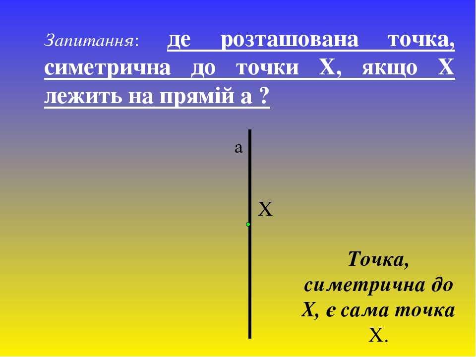 Запитання: де розташована точка, симетрична до точки Х, якщо Х лежить на прям...