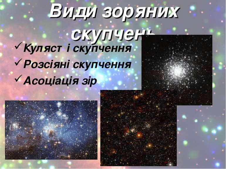 Види зоряних скупчень Кулясті скупчення Розсіяні скупчення Асоціація зір