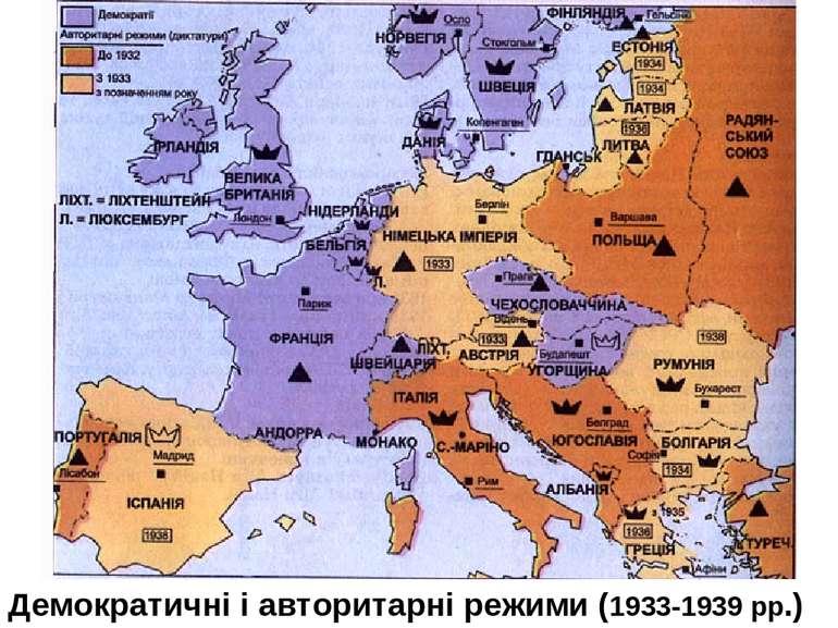 Демократичні і авторитарні режими (1933-1939 рр.)