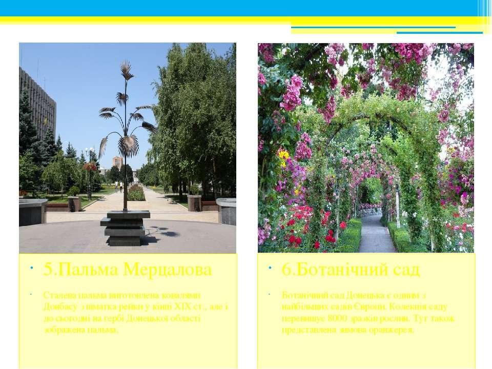 6.Ботанічний сад Ботанічний сад Донецька є одним з найбільших садів Європи. К...