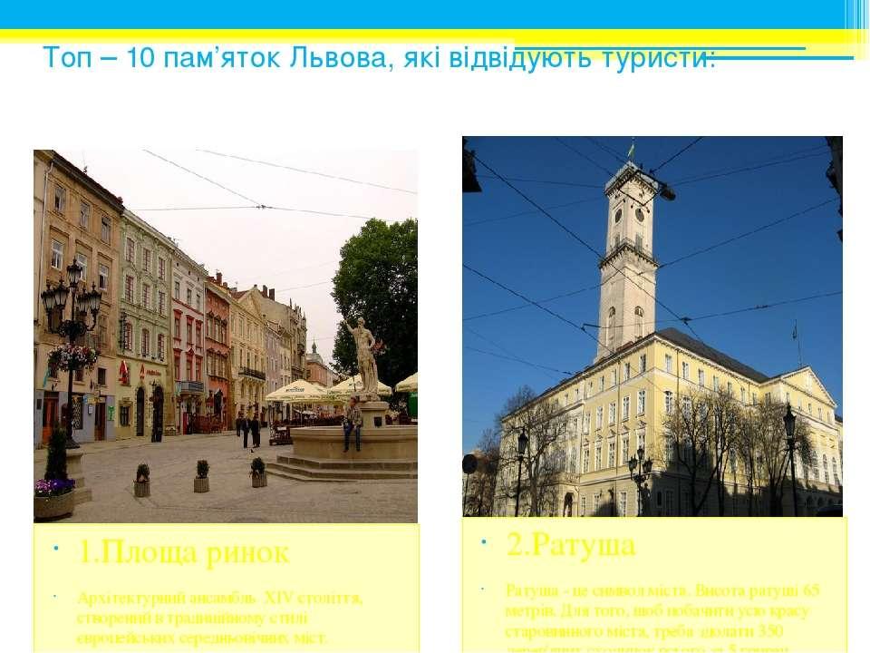 Топ – 10 пам'яток Львова, які відвідують туристи: 1.Площа ринок Архітектурний...