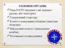 ГОЛОВНІ ОРГАНИ: Рада НАТО (на рівні глав держав і урядів, або міністрів); Ген...
