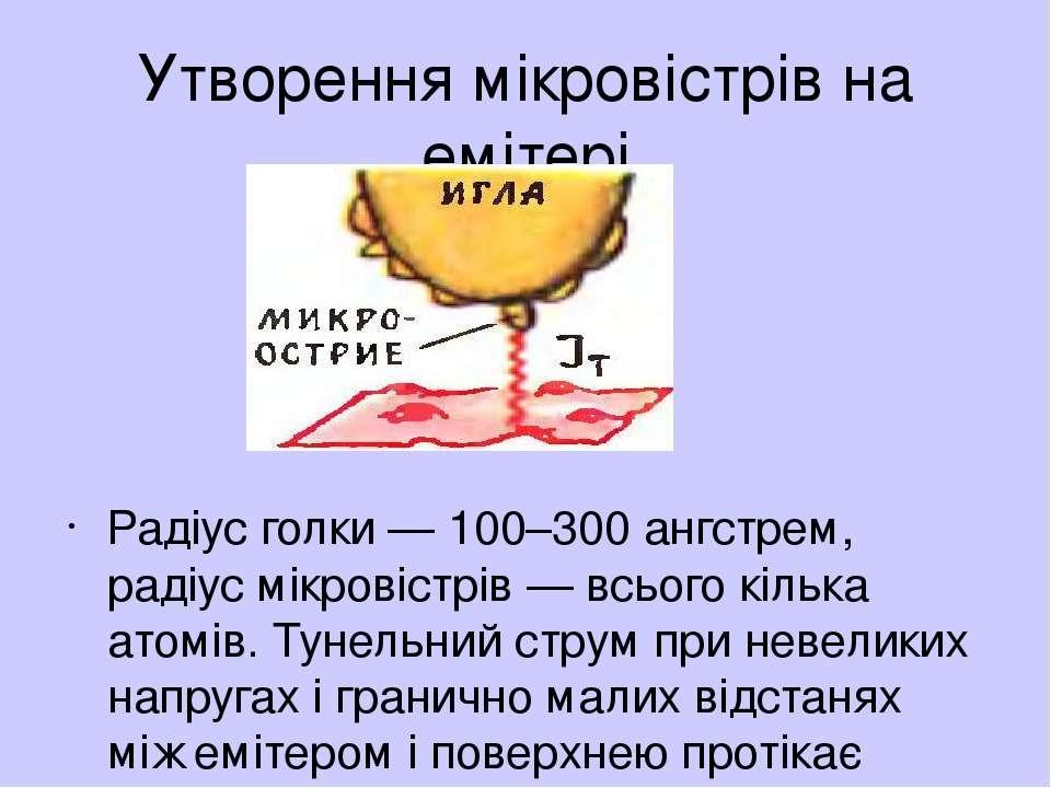 Утворення мiкровiстрiв на емiтерi Радiус голки — 100–300 ангстрем, радiус мiк...