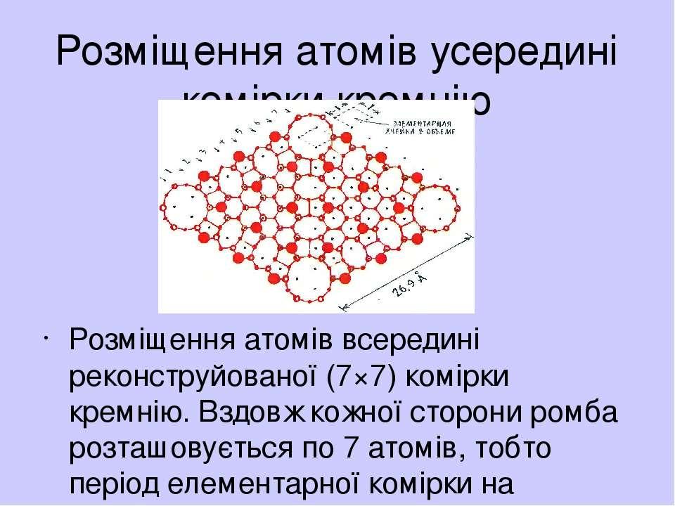 Розмiщення атомiв усерединi комiрки кремнiю Розмiщення атомiв всерединi рекон...
