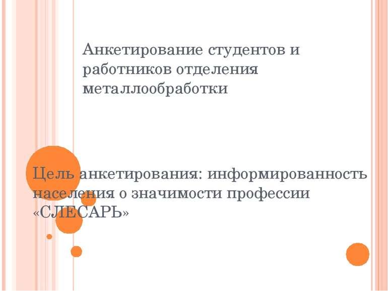 Цель анкетирования: информированность населения о значимости профессии «СЛЕСА...