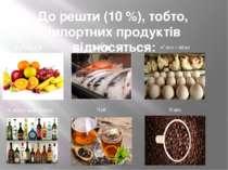 До решти (10 %), тобто, імпортних продуктів відносяться: фрукти риба м'ясо і ...