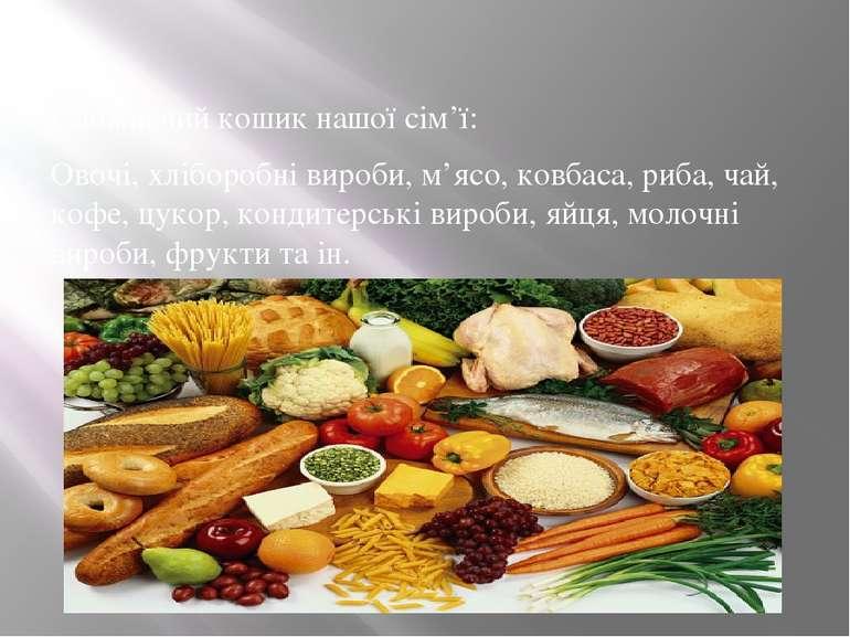 Споживчий кошик нашої сім'ї: Овочі, хліборобні вироби, м'ясо, ковбаса, риба, ...
