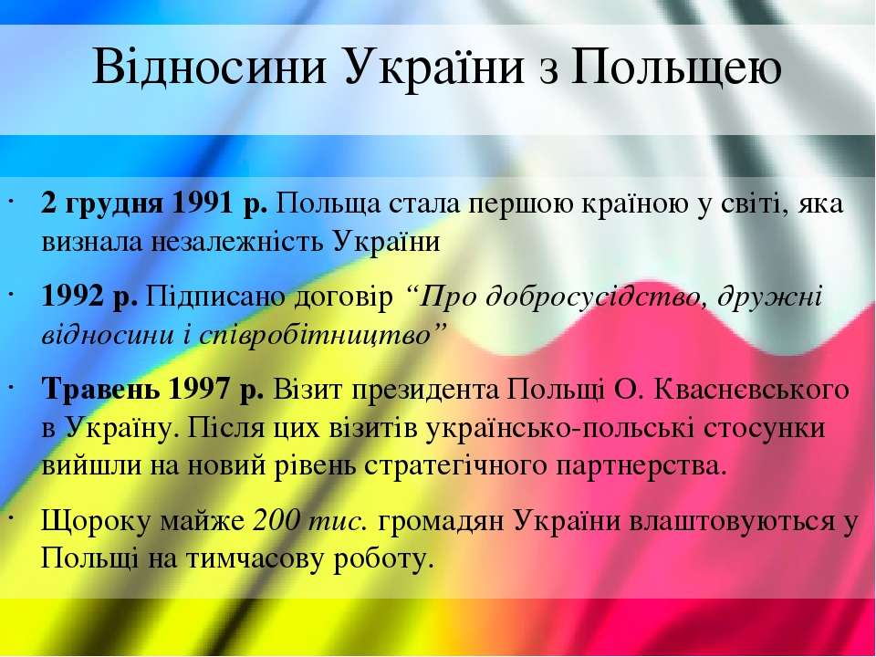 Відносини України з Польщею 2 грудня 1991 р. Польща стала першою країною у св...