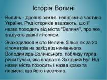Історія Волині Волинь - древня земля, невід'ємна частина України. Ряд історик...