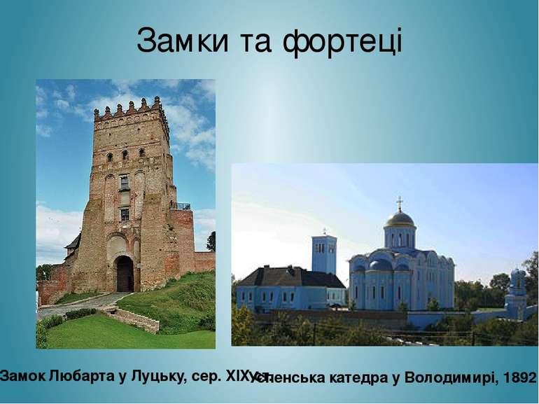 Замки та фортеці Замок Любарта у Луцьку, сер. XIX ст. Успенська катедра у Вол...