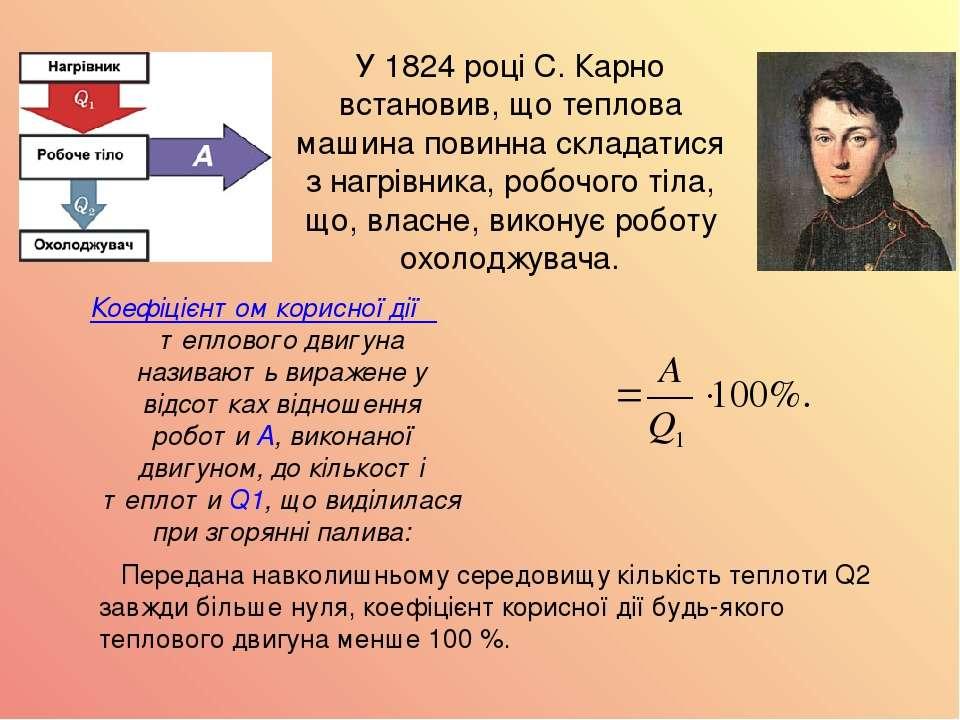У 1824 році С. Карно встановив, що теплова машина повинна складатися з нагрів...