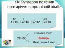 Як Бутлеров пояснив протиріччя в органічній хімії? CH4 C2H4 C2H2 C3H8 IV II I...