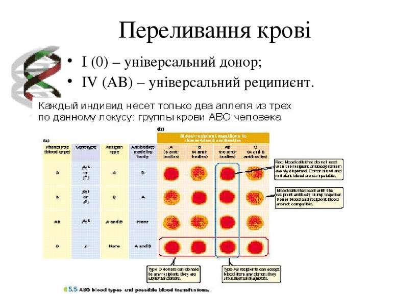 Переливання крові I (0) – універсальний донор; IV (AB) – універсальний реципи...