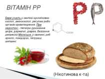 ВІТАМІН PP Бере участь у синтезі нуклеїнових кислот, амінокислот, регулює роб...