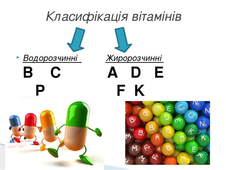 Водорозчинні Жиророзчинні В С A D E  Р F K Класифікація вітамінів
