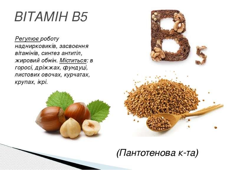 ВІТАМІН B5 Регулює роботу наднирковиків, засвоєння вітамінів, синтез антитіл,...