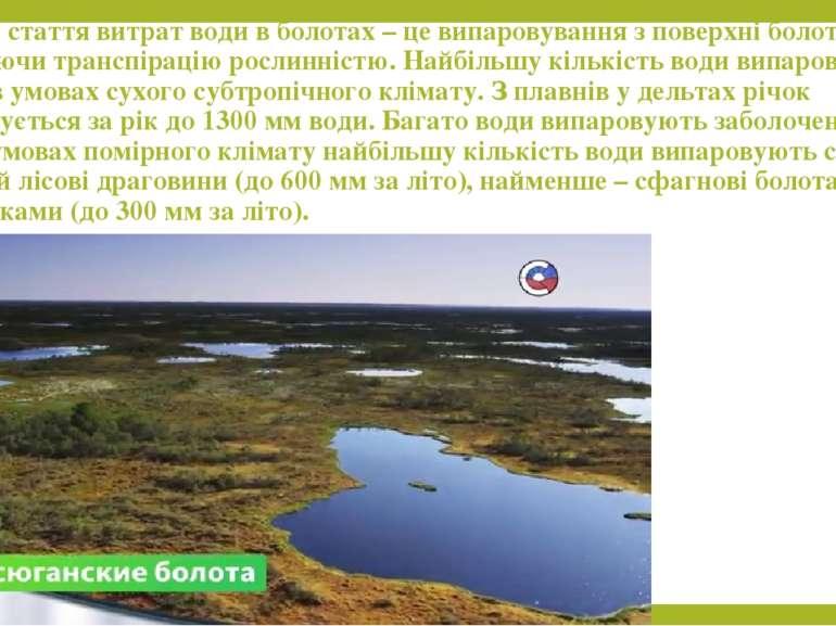 Головна стаття витрат води в болотах – це випаровування з поверхні болота, вк...
