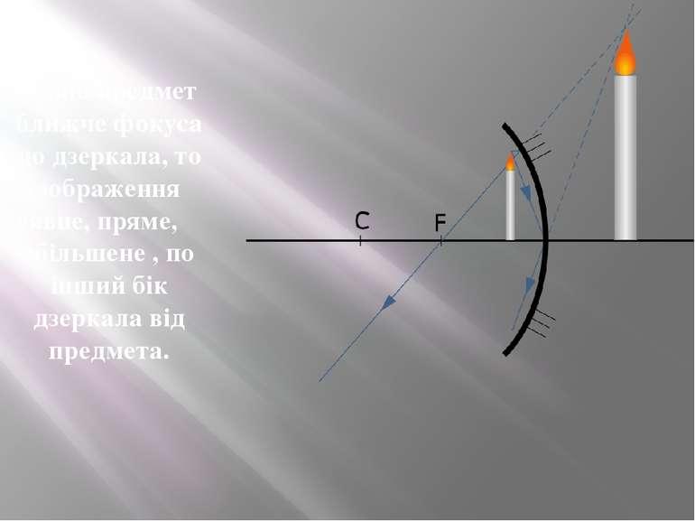 Якщо предмет ближче фокуса до дзеркала, то зображення -уявне,пряме, збільше...