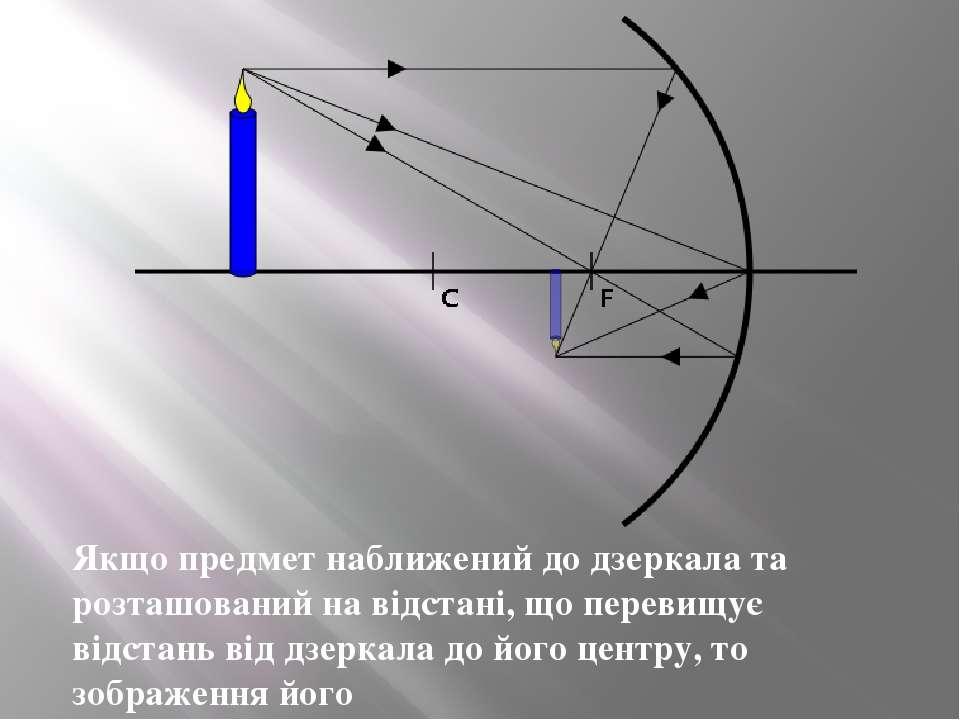 Якщо предмет наближений до дзеркала та розташований на відстані, що перевищує...