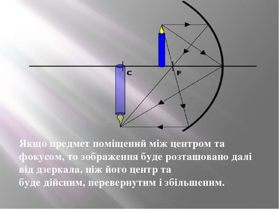 Якщо предмет поміщений між центром та фокусом, то зображення буде розташовано...