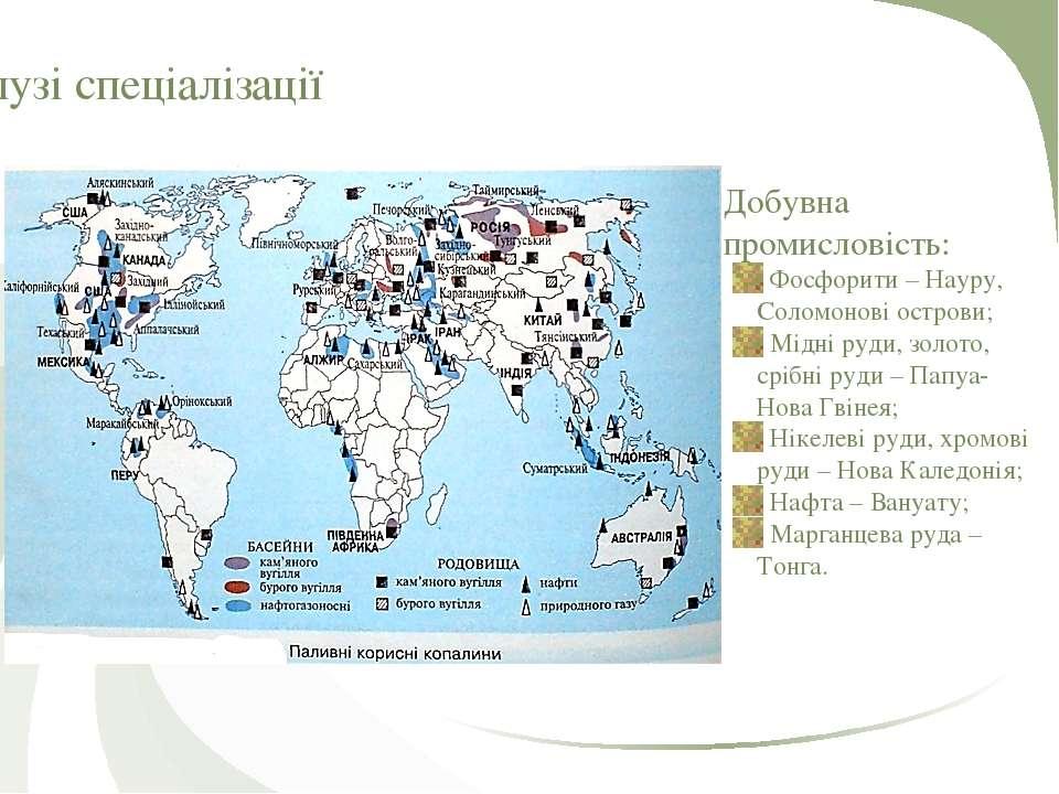Галузі спеціалізації Добувна промисловість: Фосфорити – Науру, Соломонові ост...