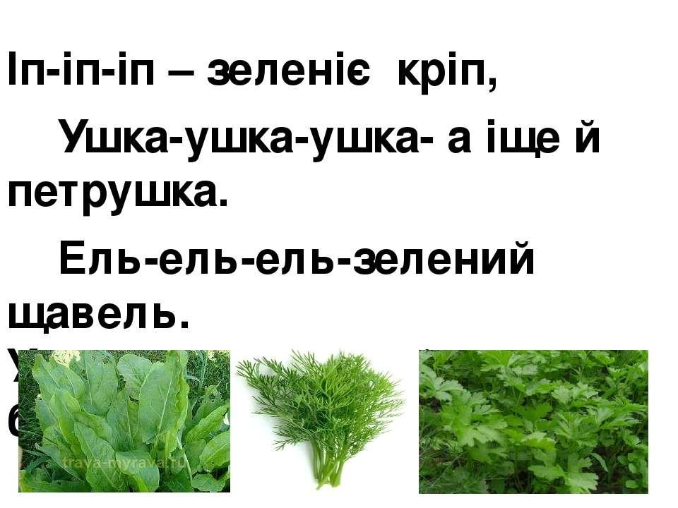 Іп-іп-іп – зеленіє кріп, Ушка-ушка-ушка- а іще й петрушка. Ель-ель-ель-зелени...