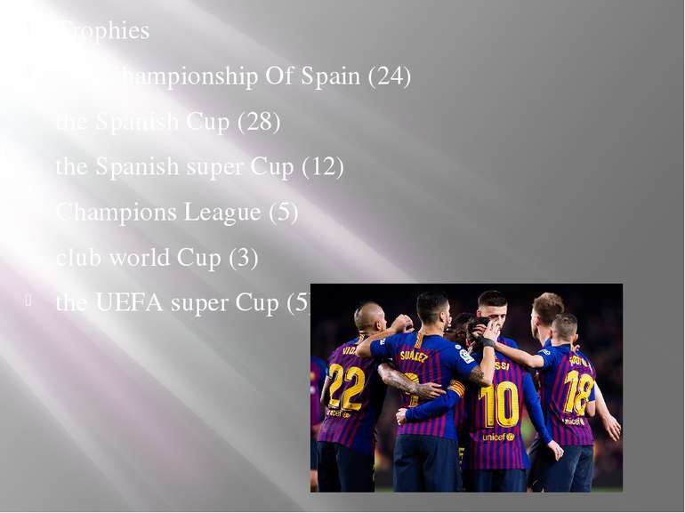 Trophies The Championship Of Spain (24) the Spanish Cup (28) the Spanish supe...