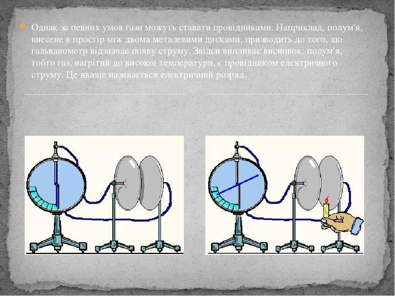 Однак за певних умов гази можуть ставати провідниками. Наприклад, полум'я, вн...