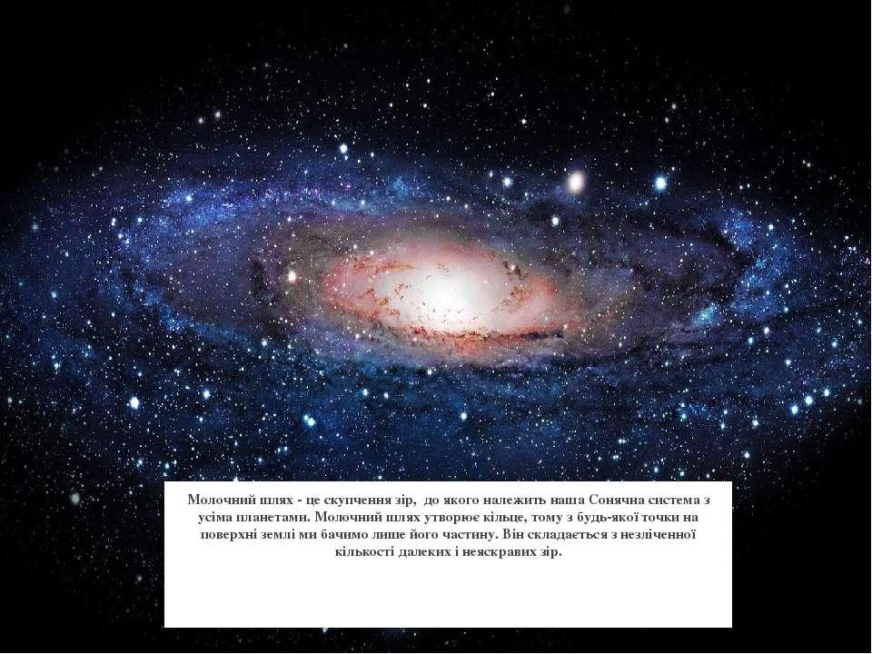 Молочний шлях - це скупчення зір, до якого належить наша Сонячна система з ус...