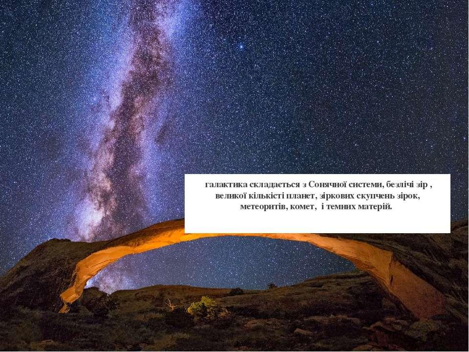 галактика складається з Сонячної системи, безлічі зір , великої кількісті пла...