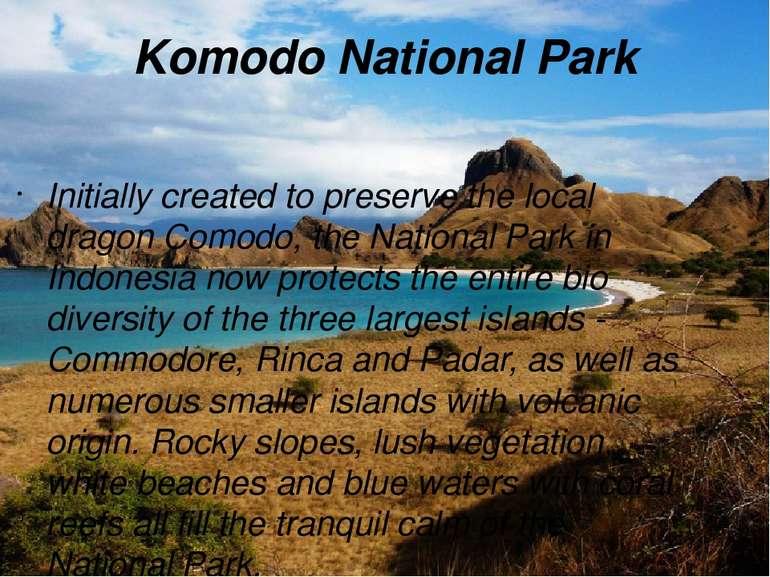 Komodo National Park Initially created to preserve the local dragon Comodo, t...