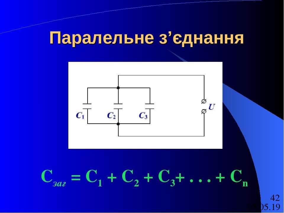 Паралельне з'єднання Сзаг = С1 + С2 + С3+ . . . + Сn