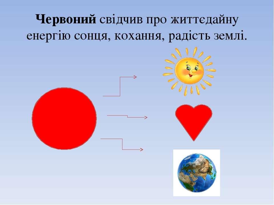Червонийсвідчив про життєдайну енергію сонця, кохання, радість землі.